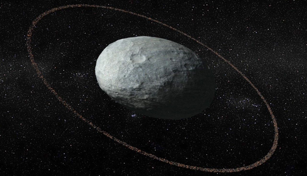 There's a giant egg floating in our solar system with a ring around it