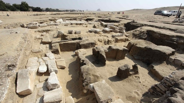 This undated photo released by the Egyptian Ministry of Antiquities shows the remains of a recently discovered temple for King Ramses II, in Abusir, southwest of Cairo. The temple may shed light on the life of the pharaoh of the 19th Dynasty, over 3,200 years ago. Mustafa Waziri, the head of agency, has told The Associated Press on Monday, Oct. 16, 2017, that the discovery was made by an Egyptian-Czech mission in the village of Abusir near the step pyramid of Saqqara. (Egyptian Ministry of Antiquities via AP)