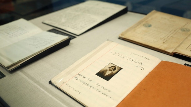 Documents recently rediscovered in Lithuania are displayed at the YIVO Institute for Jewish Research in New York, Tuesday, Oct. 24, 2017. These documents along with more than 170,000 other pages are part of a recently discovered trove of Jewish materials from Lithuania thought to have been destroyed during the Holocaust. (AP Photo/Seth Wenig)