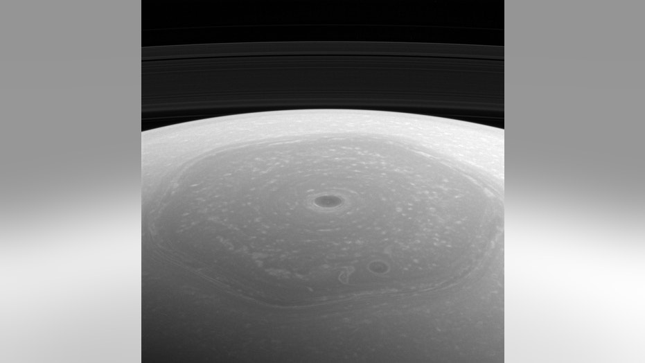 NASA's Cassini spacecraft captured this photo of Saturn's north polar vortex and hexagon on April 25, 2017, when the probe was about 274,000 miles (441,000 kilometers) from the ringed planet.