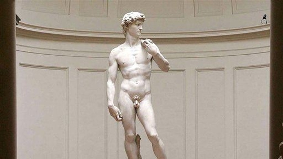 "Michelangelo's marble statue of ""David"", is seen in  Florence's Galleria dell' Accademia in this Monday, May 24, 2004 file photo."
