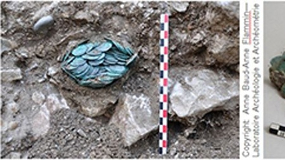 Treasure in situ (left) and after examination (right). (Credit: Anne Baud-Anne Flammin-Vincent Borrel)