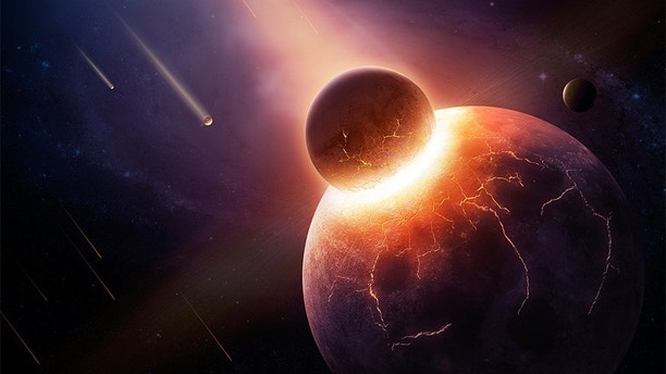 Earth destroyed in collision - 3D artwork illustration of planetary explosion