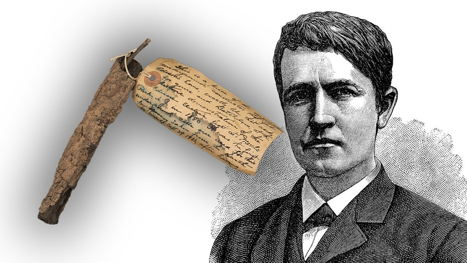 The piece of electrical wire from Thomas Edison's first underground cable for electric lighting (The Raab Collection) and an antique illustration of Thomas Edison (ilbusca/iStock)