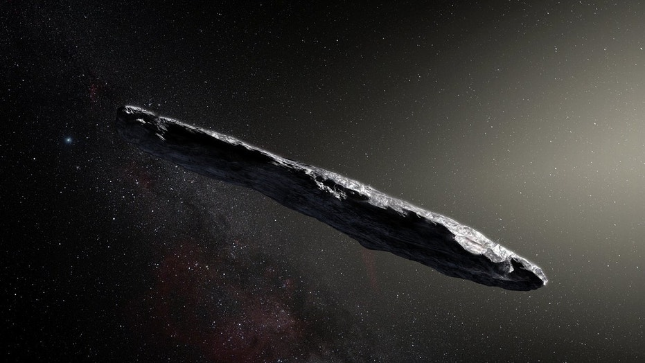This artist's illustration shows the first interstellar asteroid, 'Oumuamua. This unique object was discovered on Oct. 19, 2017 by the Pan-STARRS 1 telescope in Hawaii. Subsequent observations from ESO's Very Large Telescope in Chile and other observatories around the world show that 'Oumuamua seems to be a dark red highly elongated metallic or rocky object, about 1,300 feet (400 meters) long, and is unlike anything normally found in the solar system.