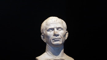 A life-size bust of Julius Caesar is seen at new buildings of the Department of the underwater and submarine archaeological  (DRASSM) in Marseille, January 22, 2009. The bust of Cesar, dated 49-46 BC, was discovered last year as part of underwater archeological exploration in the Rhone River near Arles.   REUTERS/Jean-Paul Pelissier (FRANCE) - GM1E51N0C3V01