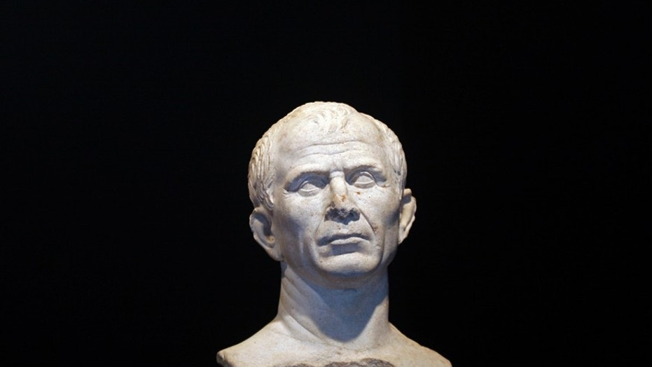 File photo: A life-size bust of Julius Caesar is seen at new buildings of the Department of the underwater and submarine archaeological (DRASSM) in Marseille, January 22, 2009. The bust of Cesar, dated 49-46 BC, was discovered last year as part of underwater archeological exploration in the Rhone River near Arles. (REUTERS/Jean-Paul Pelissier)