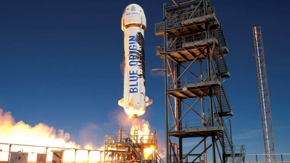Blue Origin's New Shepard suborbital vehicle lifts off on a test flight in January 2016. The company launched a presumably new variant of New Shepard on Dec. 12, 2017, according to media reports and a Federal Aviation Administration launch license.