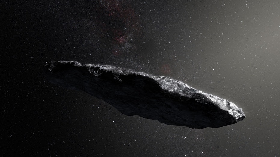 Artist's illustration of 'Oumuamua, the first interstellar object ever spotted in our solar system.