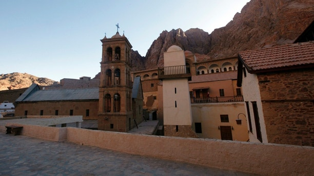 This Saturday, Dec. 16, 2017 photo shows a view of Saint Catherine monastery in South Sinai, Egypt,  where there was a  ceremony for the opening of the ancient library.  The inauguration ceremony, attended by Egyptian and western officials, comes after three years of restoration work on the eastern side of the library that houses the world's second largest collection of early codices and manuscripts, outnumbered only by the Vatican Library, according to Monk Damyanos, the monastery's archbishop.  (AP Photo/Samy Magdy)