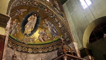 A view of the mosaic of transfiguration which covers the surface of 46 meters square inside the basilica of the monastery of Saint Catherine is shown on Saturday,  Dec 16, 2017 in South Sinai, Egypt. The inauguration ceremony, attended by Egyptian and western officials, comes after three years of restoration work on the eastern side of the library that houses the world's second largest collection of early codices and manuscripts, outnumbered only by the Vatican Library, according to Monk Damyanos, the monastery's archbishop.  (AP Photo/Samy Magdy)
