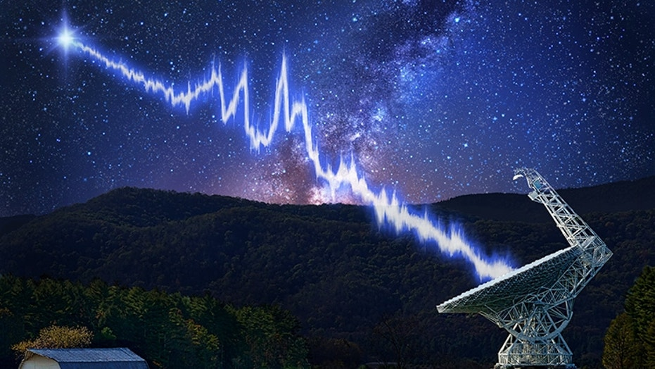 An artist's impression of the Greenbank Telescope in West Virginia receiving signals from fast radio burst FRB 121102. The object was observed by the Breakthrough Listen project.