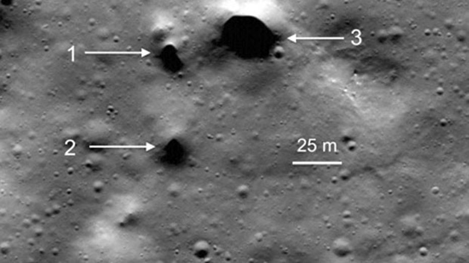 Lava tube skylight candidates at Philolaus Crater near the moon's North Pole.