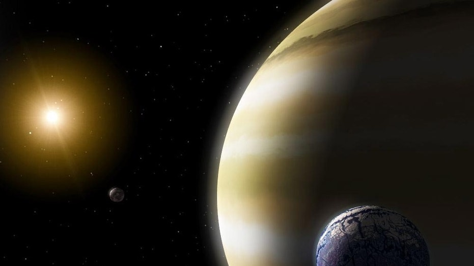 An artist's image of an Earth-like exomoon orbiting a gas giant planet