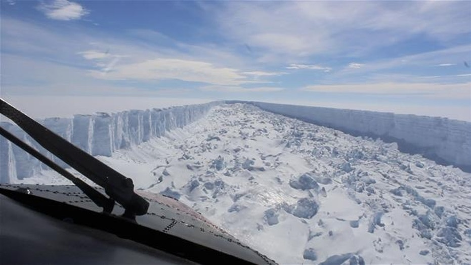 This February 2017 frame from video provided by the British Antarctic Survey shows the Larsen C ice shelf in Antarctica. A vast iceberg with twice the volume of Lake Erie broke off from the ice shelf in July.