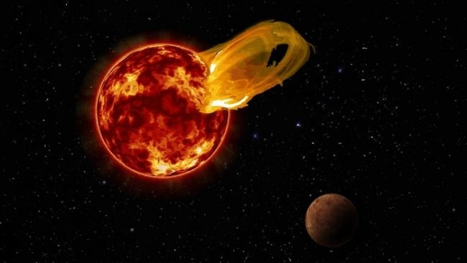 An artist's illustration of a flare from Proxima Centauri, modeled after the loops of glowing, hot gas seen in the largest solar flares. The planet Proxima b, seen here in an artist's impression, orbits Proxima Centauri 20 times closer than Earth orbits the sun. A flare 10 times larger than a major solar flare would blast Proxima b with 4,000 times more radiation than Earth gets from solar flares.
