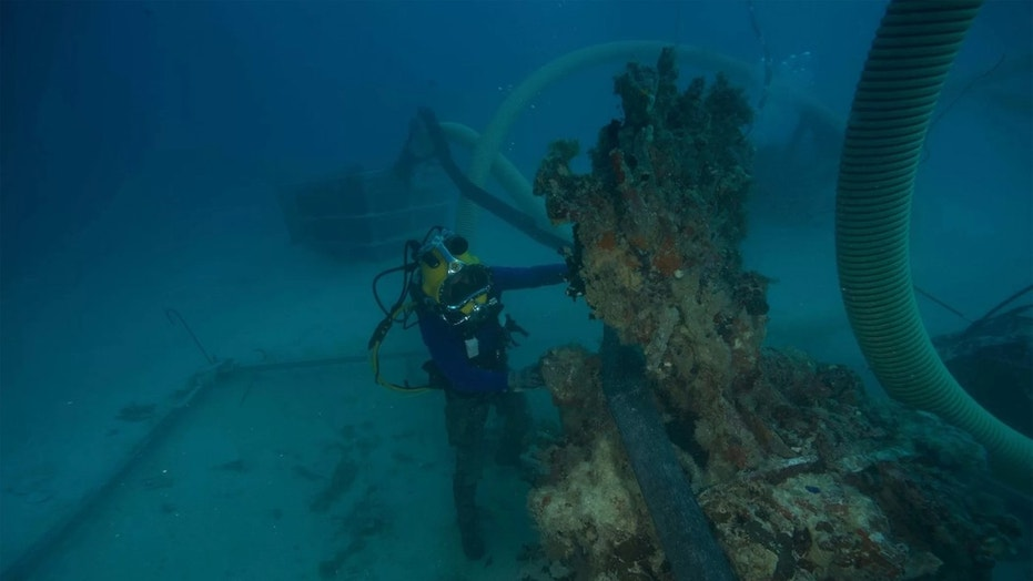 U.S. Navy Diver 1st Class Scott Johnson examines the excavation site on Jan. 24. (Credit: US Navy)