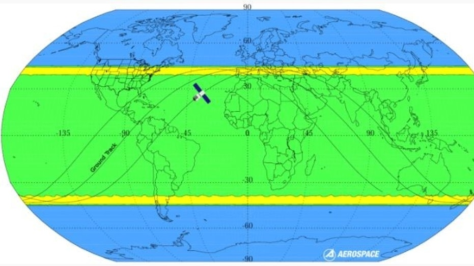 This image shows the probability of debris from a Chinese space station hitting various parts of Earth.