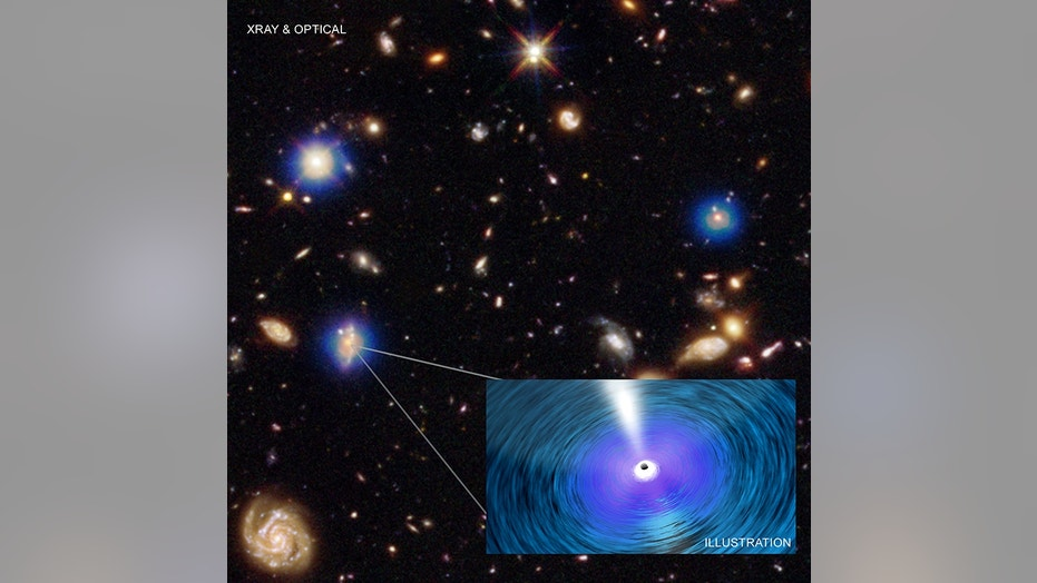 An image from the Chandra X-ray Observatory's Deep Field-South. The Chandra image (blue) is the deepest ever obtained in X-rays. It has been combined with an optical and infrared image from the Hubble Space Telescope, colored red, green, and blue. Each Chandra source is produced by hot gas falling toward a supermassive black hole in the center of the host galaxy, as depicted in the artist's illustration.