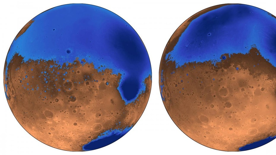 The early Mars ocean known as Arabia (left in blue) would have looked much like this when it formed on the Red Planet 4 billion years ago, when the planet's smaller Deuteronilus ocean was 3.6 billion years old. Their water is now gone, possibly frozen underground or partially lost to space.
