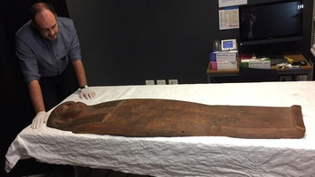 A 2,500-year old coffin that may contain a mummy lies at the University of Sydney in Sydney, Australia March 27, 2018. REUTERS/Colin Packham - RC1EFB347E60