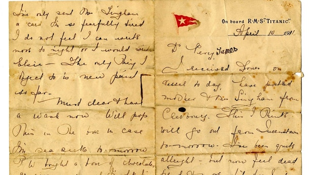 rare titanic love letter up for auction offers insight into life on