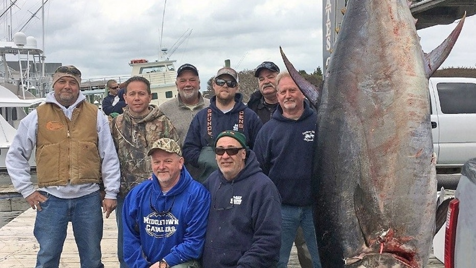 Scott Chambers, (kneeling, left) a retired Army general, caught the bluefin on March 17.