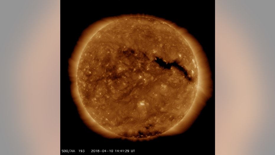 A coronal hole on the sun can be seen in this image from April 10, 2018, taken by NASA's Solar Dynamics Observatory.