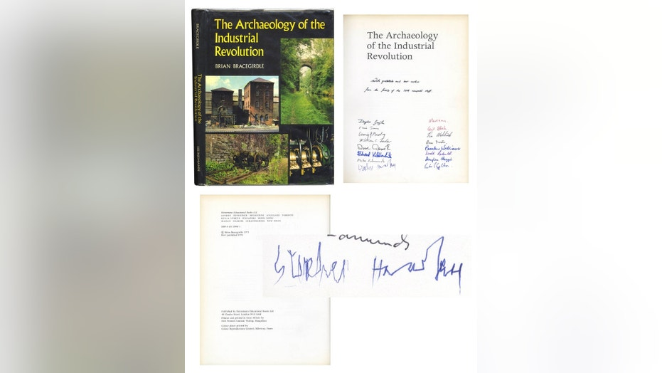 A copy of the book that shows it was made by Dr. Ing. Hawking signed in 1973. (Credit: Nate D. Sanders Auctions)