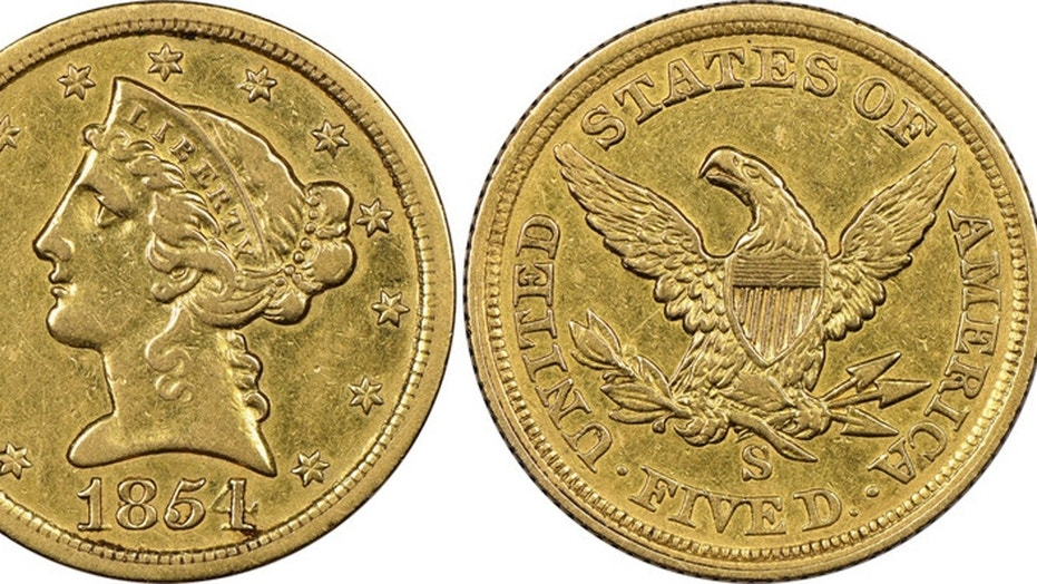 """Mistakenly believed by its owner to be a fake, this historic gold coin now has been authenticated as """"the discovery of a lifetime"""" by Sarasota's Numismatic Guaranty Corporation. It is only the fourth known surviving example of a $5 denomination coin struck at the San Francisco Mint during the California Gold Rush in 1854."""