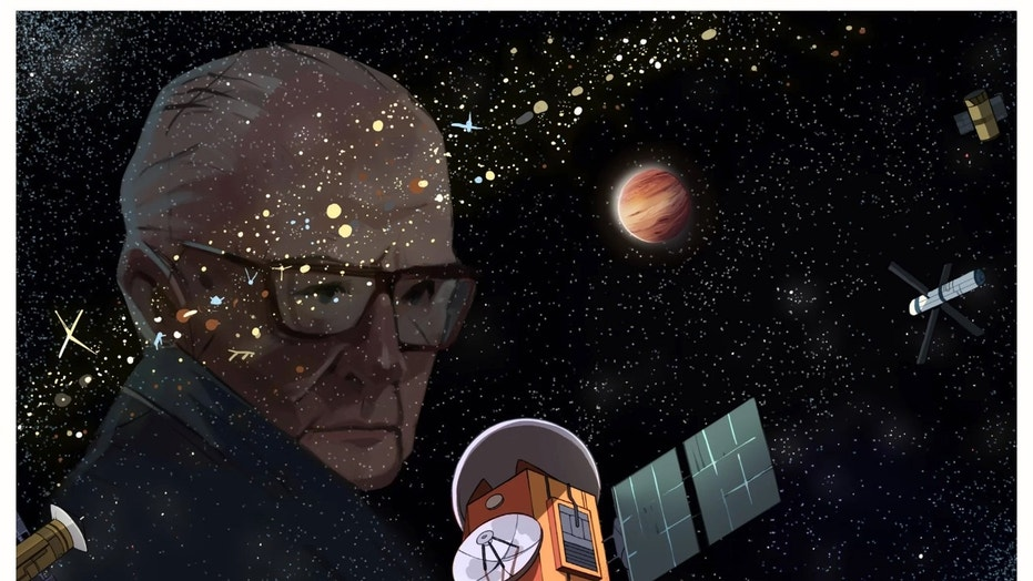 """An artist's illustration of a """"Clarke exobelt"""" of alien satellites, with a portrait of inventor and science fiction author Arthur C. Clarke. Credit: Caro Waro"""