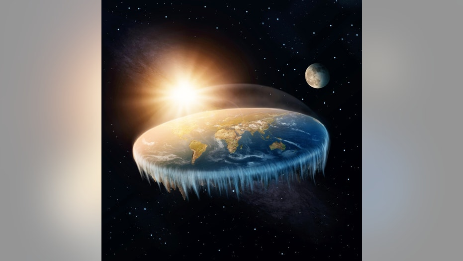 Flat Earth in space with sun and moon (This content is subject to copyright.)  (Credit: iStock)