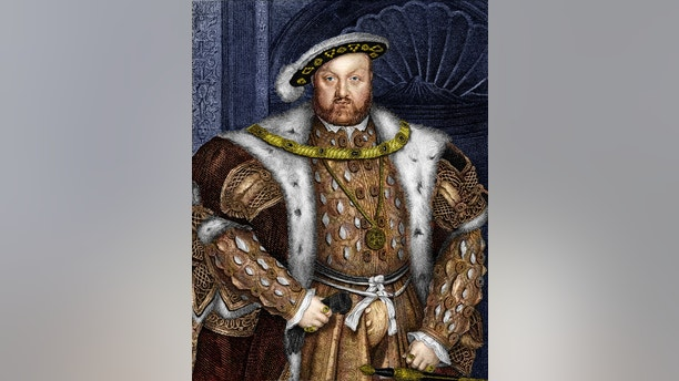 King Henry VIII of England reigned from 1509 to 1547.  One of the most famous monarchs of England, he launched of the English Reformation and broke with the Church in Rome, creating the Church of England.  He had six wives including Anne Boleyn.  Note engraving from 1855 photo and toning by d walker