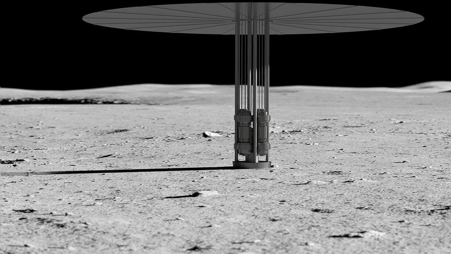 An artist's rendering of a Kilopower nuclear power plant on the surface of the moon. The prominent heat radiator makes it look like a beach umbrella. The actual unit will have cables carrying electricity away from the reactor.