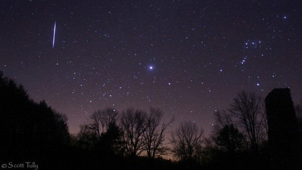 Photographer Scott Tully captured this view of a Leonid meteor over rural Connecticut before sunrise on Nov. 17, 2012, during the peak of the annual Leonid meteor shower.