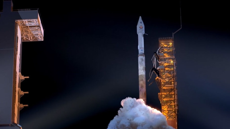 An artist's rendering of a rocket launching with the InSight spacecraft (NASA/JPL-Caltech)