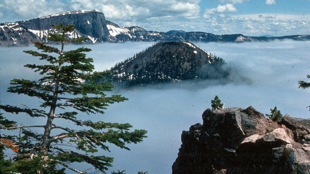 crater lake fog