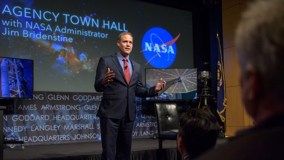 NASA Administrator Jim Bridenstine spoke at an agency town hall event on May 17, 2018, where he took employee questions and reassured them about his stance on climate change.