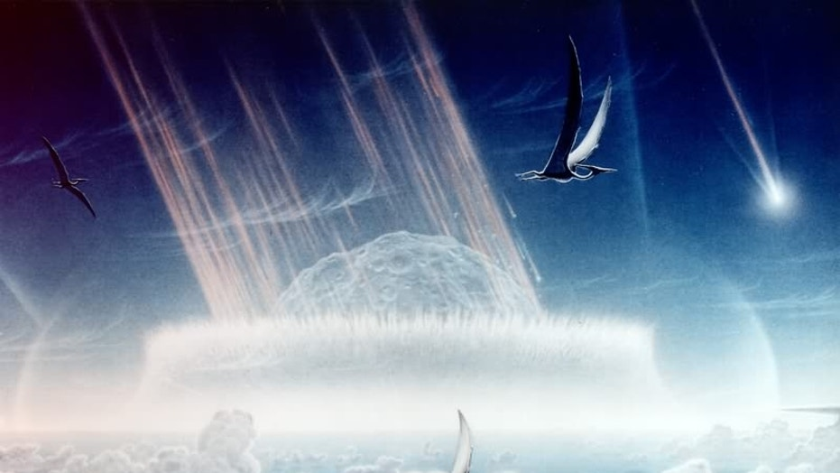 An artist's rendering from 1994, illustrating the Chicxulub asteroid impact that killed off most of the dinosaurs about 66 million years ago.