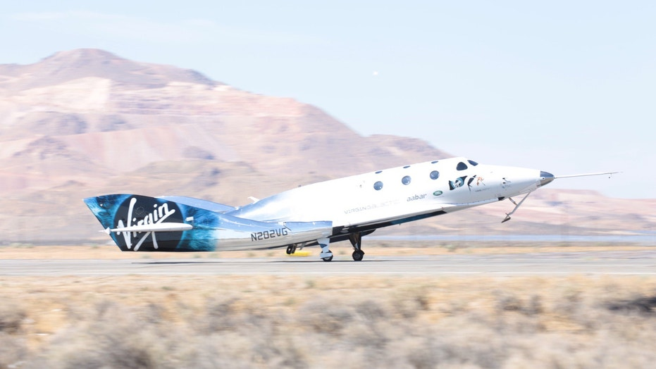 Virgin Galactic's VSS Unity suborbital space plane touches down after a successful powered test flight on May 29, 2018.