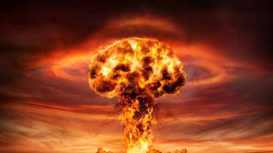 Nuclear Explosion With Orange Mushroom Cloud (This content is subject to copyright.) (Credit: iStock)