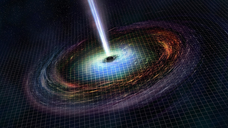 An artist's illustration of the black hole GW170817 created from the crash of two neutron stars.