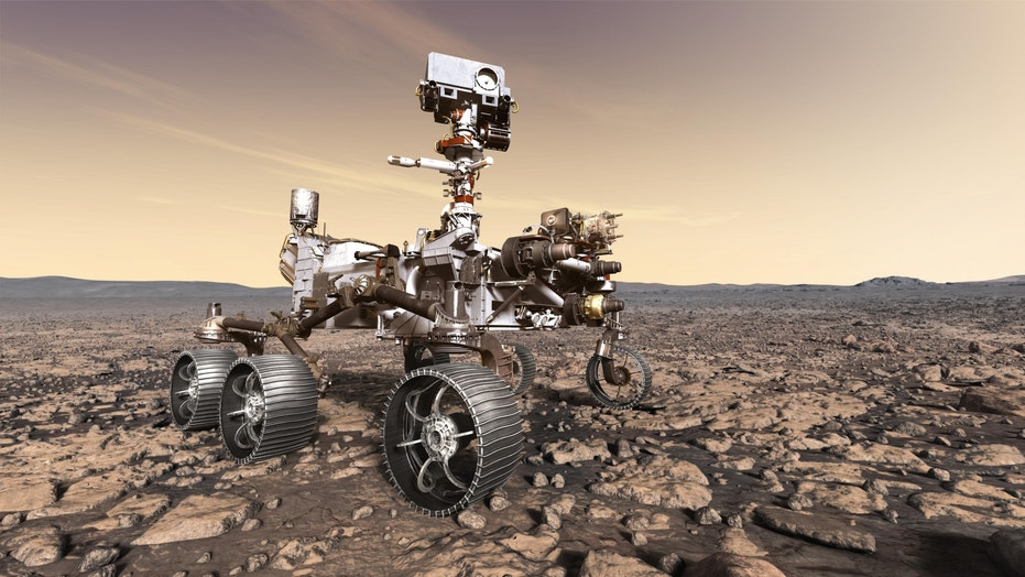 Artist's illustration of NASA's life-hunting Mars 2020 rover on the Red Planet's surface.