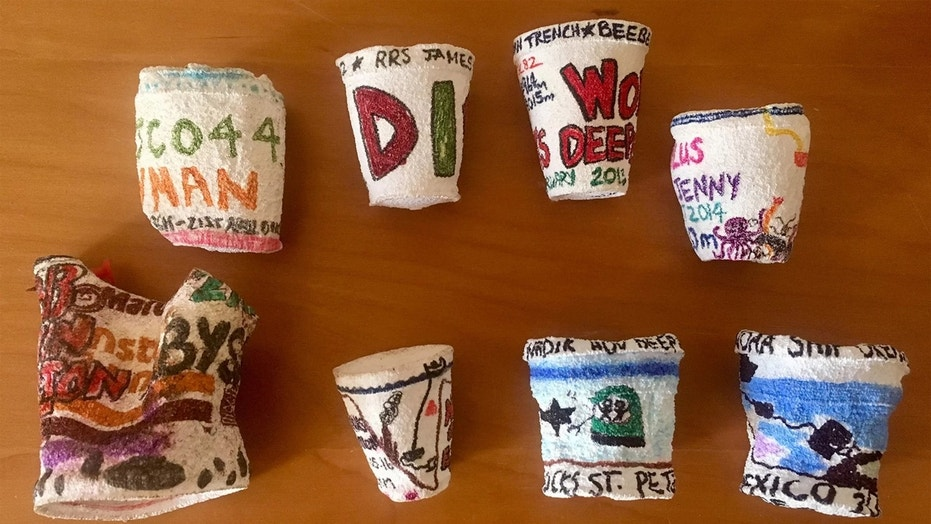 Oceanographers take advantage of crushing, deep-sea pressure to make decorated, shrunken Styrofoam cups as souvenirs and for science outreach. Credit: Courtesy of Diva Amon