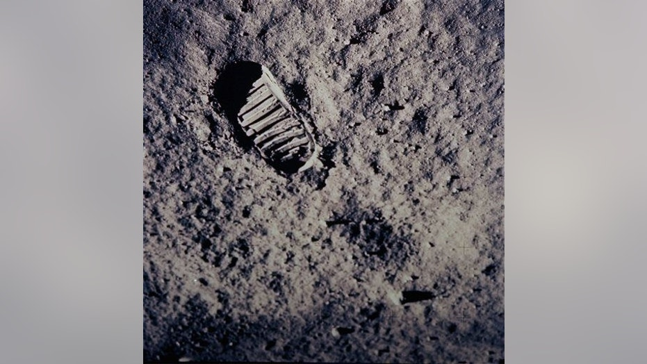 """In this July 20, 1969, photo provided by NASA, a footprint left by one of  the astronauts of the Apollo 11 mission is seen in the soft, powdery surface of the moon. Commander Neil Armstrong and Edwin """"Buzz"""" Aldrin became the first men to walk on the moon after blastoff from Cape Kennedy, Fla., on July 16, 1969."""