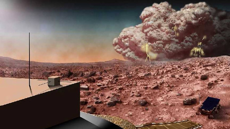 This artist's concept illustrates a Martian dust storm, which might also crackle with electricity.