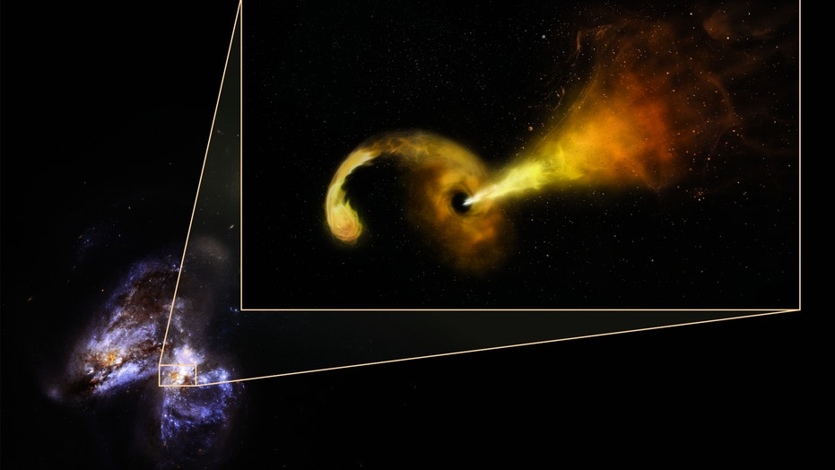 In the pair of colliding galaxies Arp 299, researchers spotted evidence of a supermassive black hole shredding a nearby star, pulling its debris into an orbiting disk and blasting a powerful jet of particles outward. The background photo is a view of the colliding galaxies from the Hubble Space Telescope; an artist's concept of the black hole system is pulled out.