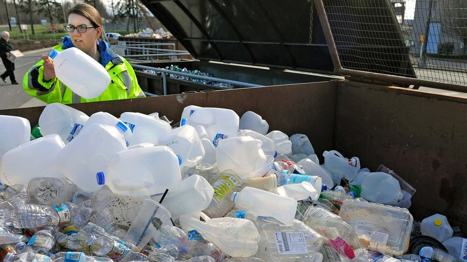 Skagit County Solid Waste Division manager Margo Gillaspy displays some recyclable plastic items in Mt. Vernon, Wash., in this March 12, 2018 file photo.