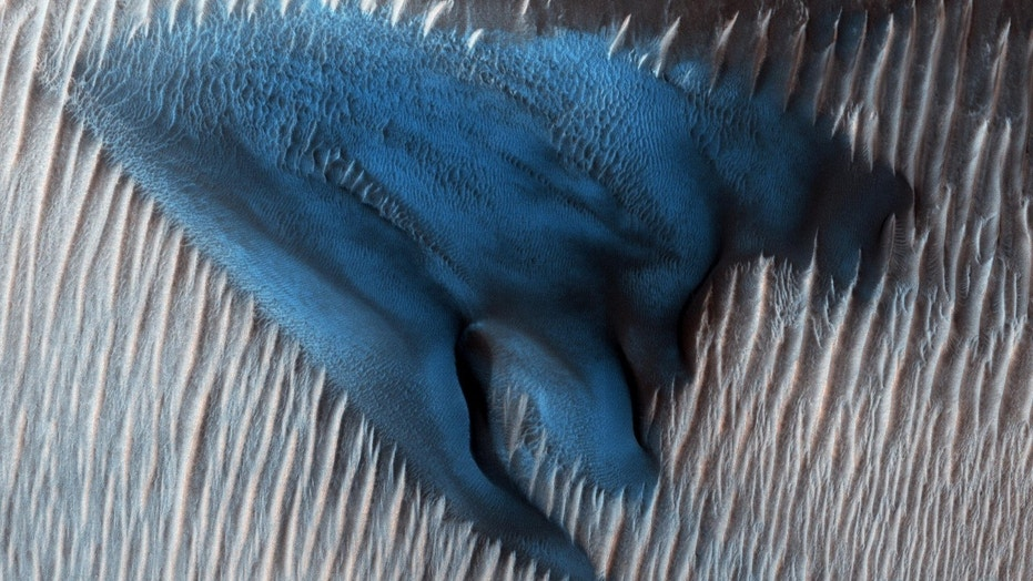 Picture: NASA image shows a blue dune on Mars