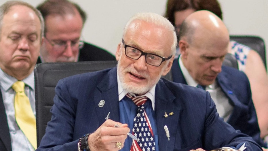 Buzz Aldrin participates in the National Space Council's Users' Advisory Group meeting on June 19, 2018 at NASA Headquarters in Washington, DC. Credit: Joel Kowsky/NASA
